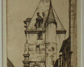 SCOTTISH ART. William Wilson (1905 - 1972). The Bell Tower of St Aignan Church, Chartres. ETCHING. Signed and Titled in Pencil