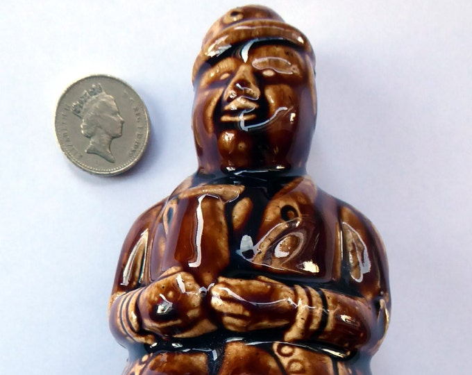 Antique 19th Century Treacle Glazed SCOTTISH POTTERY Money Box or Bank in the Form of a Seated Gentleman