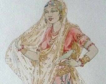 Elyse Ashe Lord (1900 - 1971). Rare Original Watercolour Painting. Indian Lady with Bird