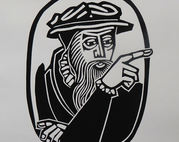 SCOTTISH ART. 1975 Original Willie Rodger Linocut on paper. Historical Figures: John Knox. SIGNED in pencil