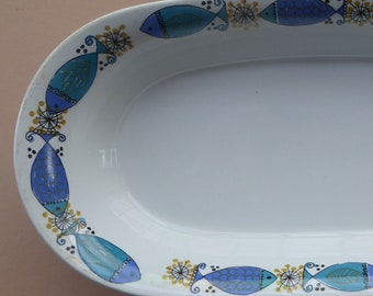 Figgjo Flint, Turi Design. Highly Collectable CLUPEA (Herring) Pattern. 1960s Norwegian Oblong Serving Dish