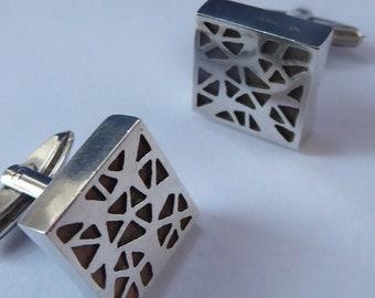 SCOTTISH Hallmarked Silver Cufflinks by contemporary silversmith Norman Cherry. Edinburgh Hallmark. 1980s
