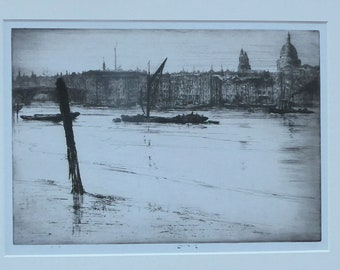 SCOTTISH ART. Ernest Stephen Lumsden (1883 - 1948)  Low Tide, 1921  Etching and drypoint on paper