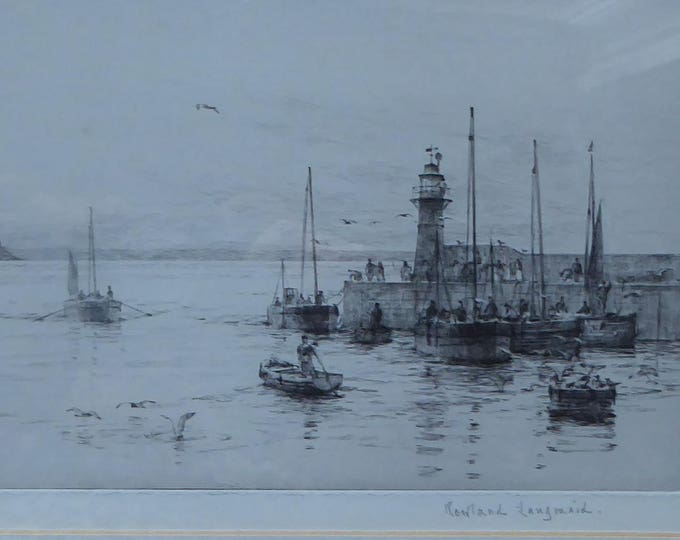 ORIGINAL ETCHING Rowland Langmaid (1897-1956) Newlyn & St Michael's Mount, Cornwall. Pencilled signed