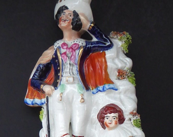 Antique STAFFORDSHIRE Figurine. Rarer Group of Huntsman, Dog & Game, and Little Seated Girl. Excellent Condition. 11 1/4 inches high