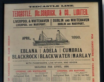 LIVERPOOL / DUBLIN Local History Interest. Very Rare ORIGINAL Tedcastle Line Victorian Poster of Sailings & Prices for April 1898
