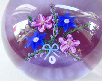 LARGE Vintage Limited Edition SCOTTISH Caithness Glass Paperweight: Victorian Bouquet by Allan Scott, 1988