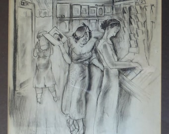 1930s AMERICAN ART. Drawing by Katherine Langhorne Adams (1885–1977). Ladies Shopping in a Woolworth's Five and Ten Cent Store