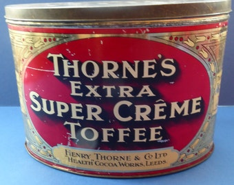 Rare Early 20th Century Art Nouveau Thorne's Extra Super Creme Advertising Toffee Tin; c 1910