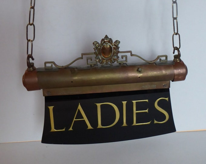 ORIGINAL 1920s THEATRE SIGN from the Edinburgh Playhouse. Brass Fittings with Black Glass Plaque. Gold Lettering