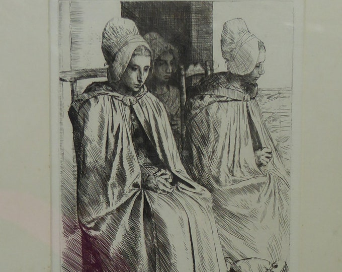 ORIGINAL Alphonse LEGROS (1837 - 1911) Etching. Peasant women from near Boulogne
