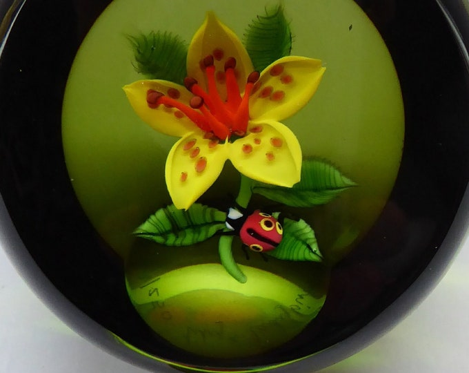 SCOTTISH Large 1991 Limited Edition Caithness LILIES and LADYBIRD Paperweight by William Manson. Signed to the base