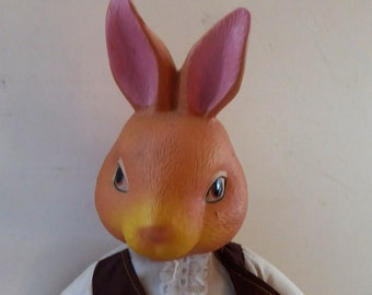 Strange VINTAGE RABBIT. Mr Rabbit has ceramic head and paws, soft body and has a vintage clothes on 16 1/2 inches