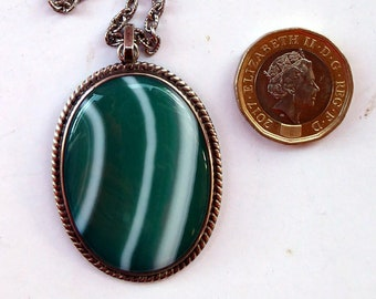 SCOTTISH Vintage OLA GORIE Silver Pendant or Necklace with Large Green & White Striped Agate.  Made in Orkney, 1980s
