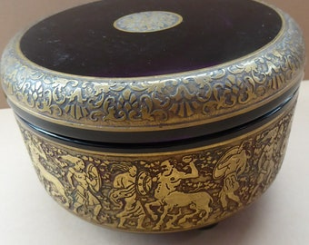Moser Karlsbad AMETHYST GLASS Lidded Trinket Box with Four Ball Feet. Battle of the Centaurs. SIGNED