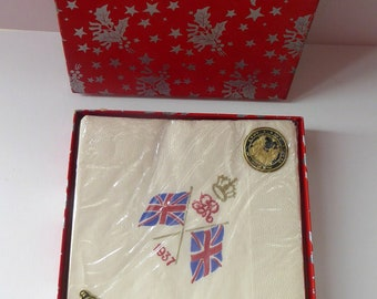 1937 CORONATION Paper Napkins or Serviettes by Deeko. In Fabulous Art Deco Box