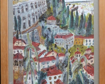 "SCOTTISH ART. Jane Hyslop: Original Watercolour Painting Entitled ""Verona"". Signed and dated 1989"