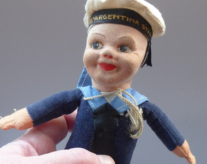 Genuine Vintage Norah Wellings SAILOR DOLL. Wearing SS. Argentina Star Cap. Original Label Sewn on Base of Foot