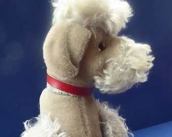 Largest Vintage 1950s STEIFF  POODLE Soft Toy. Cream plush fabric, red leather collar, glass eyes and moving front and back legs