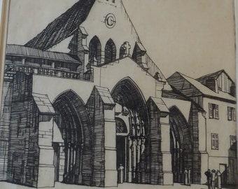 SCOTTISH ART. William Wilson (1905 - 1972). Saint Ayoul Church, Provins. ETCHING. Signed and Dated 1927