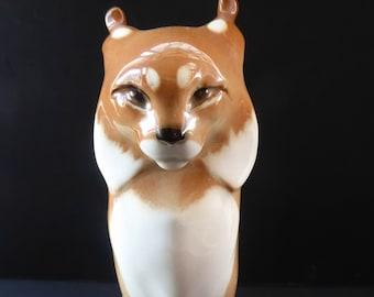 Vintage RUSSIAN USSR Lomonosov Porcelain Lynx or Wild Car Figurine. 8 1/4 inches in height