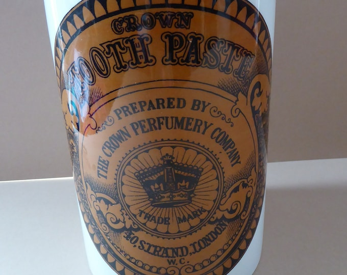 Rare CHEMIST PRINTS Vintage 1970s Portmeirion Storage Jar with Wooden Lid. Large size.  8 1/4 inches in height