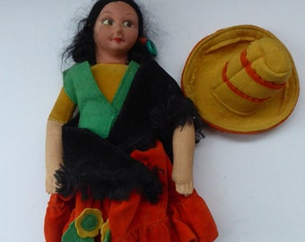 VINTAGE Norah Wellings Spanish Senorita Doll with Yellow Sombrero Hat. 11 inches with Original Cloth Tag