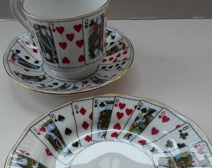 ELIZABETHAN Cut for Coffee Pattern. Cute Vintage Bone China Trio: Tea Cup, Saucer & Side Plate. Playing Cards Decoration.