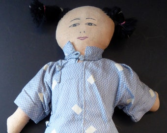 Cute 1950s ADA LUM STYLE Chinese Cloth / Rag Doll. All Handmade and in excellent condition