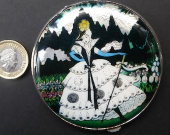 1930s LARGE Gwenda Tap Flap Powder Compact  with Foil Image of Glamourous Lady in a Crinoline Dress. Excellent Vintage Condition