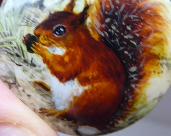 Cute Vintage Hallmarked SOLID SILVER Trinket Box. Hand-Painted Enamels on Lid  Featuring an Image of a RED Squirrel