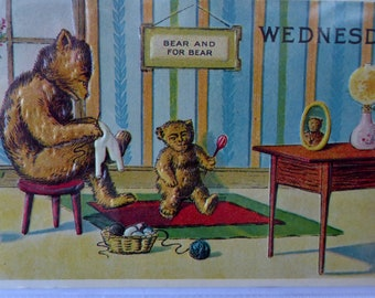 7 Vintage MERRIMACK Postcards. Replica Issues of Bears: Days of the Week. Published 1970s in Hong Kong