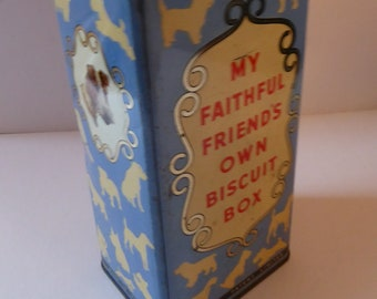 "1950s Spratts Dog Biscuits Tin ""My Faithful Friend's Own Biscuit Box"". Cute Pattern featuring Lots of Wee Dogs"