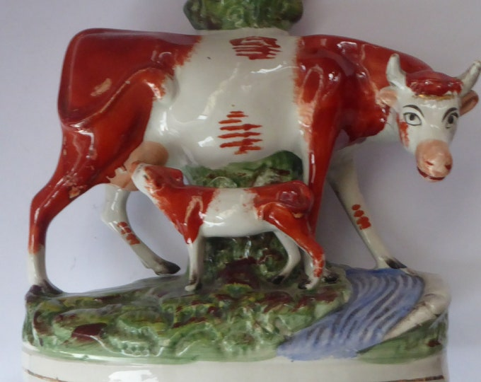 Large Staffordshire Spill Vase / Antique Figurine of a Cow Suckling her Calf by the Side of a River
