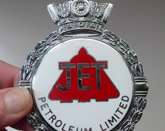 Rare 1960s CAR BADGE for JET Petroleum Ltd. Made by J.R.Gaunt. Pristine Condition