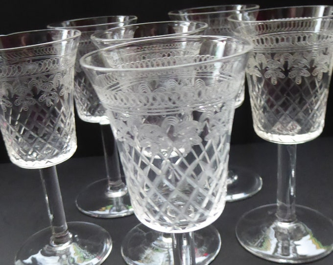 ANTIQUE Liqueur Glasses. Victorian / Edwardian with Fine Engraving on the Bowls. Set of SIX
