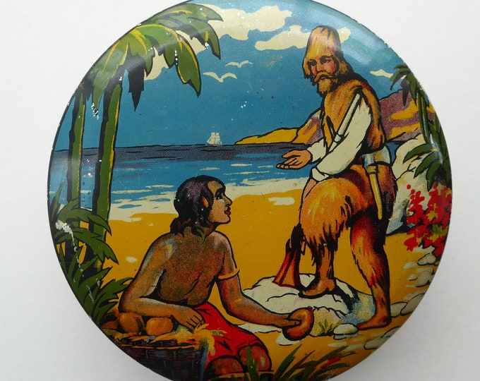 Rare 1950s ROBINSON CRUSOE Biscuit or Toffee Tin. 6 inches in diameter
