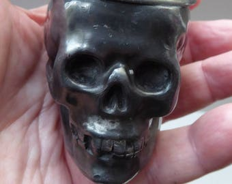 VICTORIAN INKWELL. Realistically Modelled as a Skull. Very Unusual & RARE Antique Electroplate Novelty Example