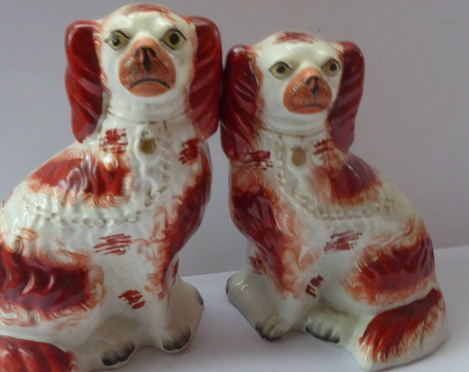 Antique Pair of Staffordshire Dogs Chimney Spaniels / Wally Dugs; 10 inches with yellow painted eyes, c1880s
