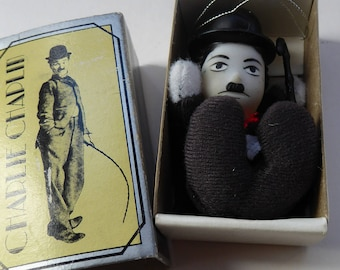 CHARLIE CHAPLIN. Rare Vintage Miniature Doll  in a Matchbox; by Bubbles: 1980