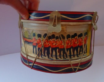 TOY DRUM. Vintage 1940s Trooping of the Colour Design. With Vellum Drumskin Top and Bottom