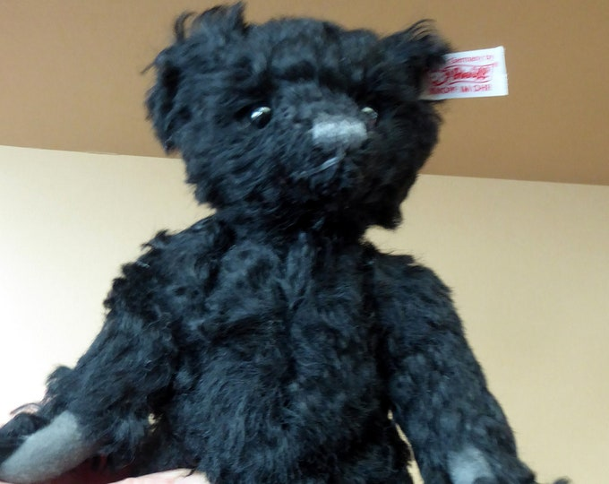 Vintage STEIFF Collector's Club Small Black Mohair Bear.  With Button and White Ribbon. Excellent Condition. 8 1/2 inches tall
