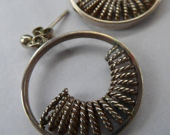 Early Scottish ORTAK Silver Earrings by MALCOLM GRAY for Silvercraft. Original Box. Hallmarked 1975