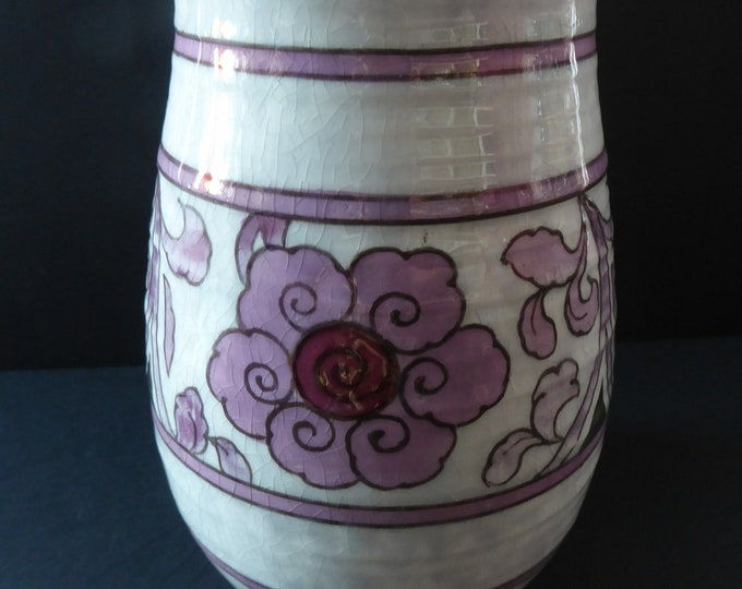 1930s CROWN DUCAL Vase. Charlotte Rhead Design with Pink Tube Lined Flowers on a Mottle Grey Ground