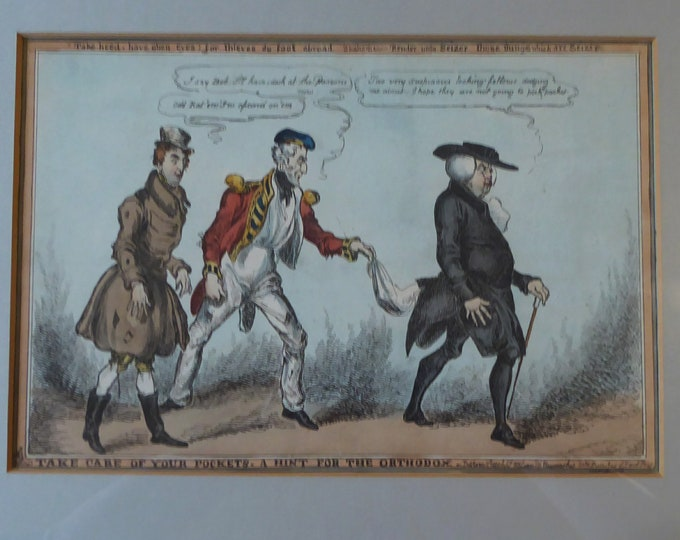 "GEORGIAN PRINT. Satirical Print 1829 by William Heath. Entitled ""Take care of your pockets - a hint for the orthodox"""