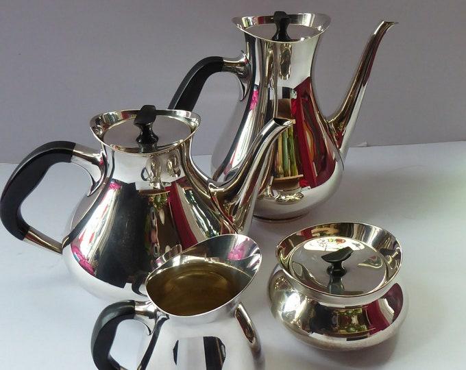 DANISH Art Deco Style Cohr Tea Service.  1950s Vintage SILVER Plate (EPNS). Designed by Hans Bunde. Four Pieces in Set