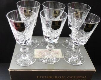 6 EDINBURGH CRYSTAL Matching Star of Edinburgh Sherry or Liqueur Glasses. 1960s Each with Etched Signature. Original Card Box