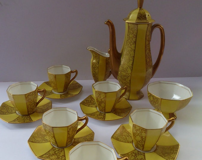 1930s ROYAL DOULTON George V Art Deco Coffee Set. Yellow with Overlaid Gold Gilt Decoration