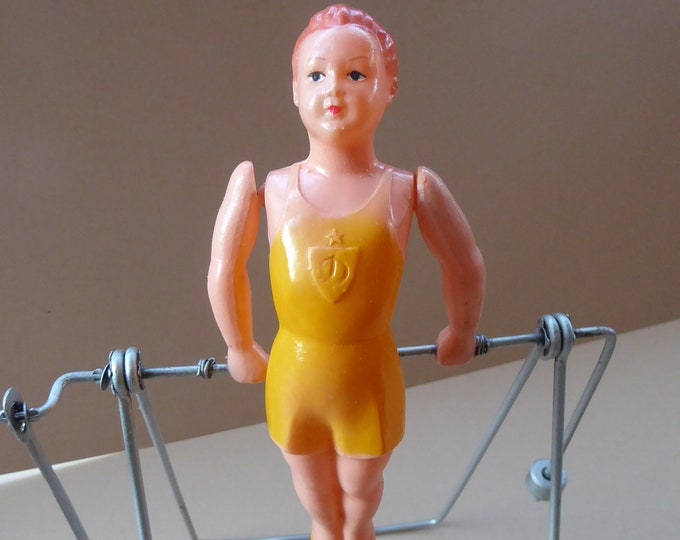 1950s Vintage USSR / Russian Child's Mechanical Toy. A Celluloid Gymnast. WORKING; and with Original Box