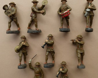 ELASTOLIN Vintage Set of Elastolin Toy Soldiers (Made in Germany) Early 20th Century Army Marching Band. Made in Germany